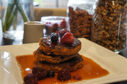 paleo gluten free carrot cake pancakes with berries